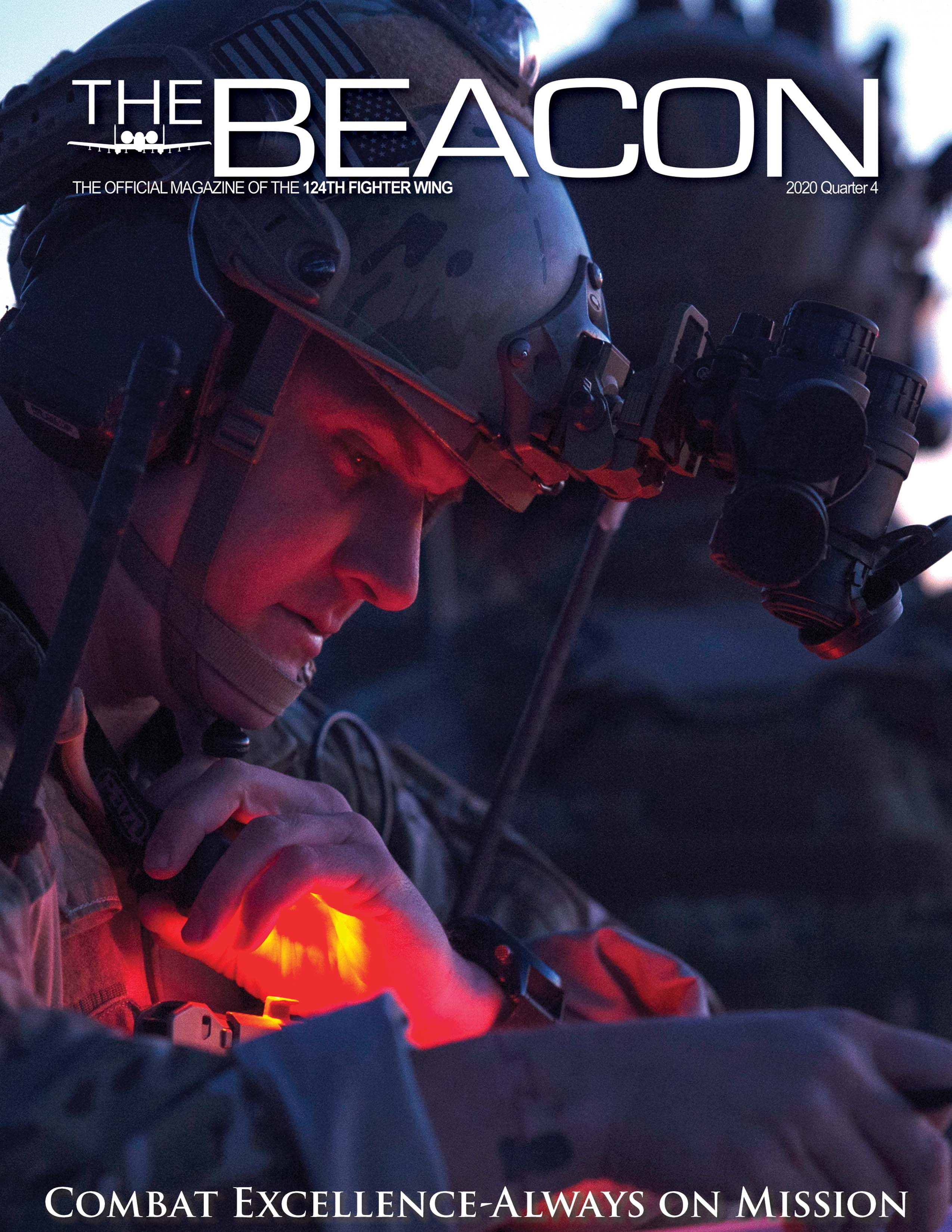 A picture of the cover of a magazine titled, The Beacon, the monthly magazine of the 124th Fighter Wing. The text at the bottom reads, Combat Excellence, always on mission. The cover shows a male Air Force Airman from the 124th Air Support Operations Squadron reading a map in low light during combat training.